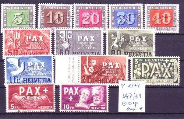 Schweiz 447-59 Pax-satz o  (p1774  ) siehe scan