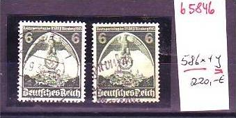 D-Reich Nr. 586 x+y o (b5846 ) rechte Marke verkehrtes Wasserzeichen