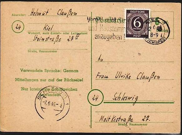 Zonen Ganzsache o- Kiel 1946  ( m8220 ) siehe scan