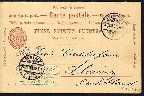 Schweiz Ganzsache  P17 selten   ( m8478 ) siehe scan  !!