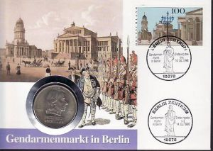 BRD Numisbrief  Gendarmenmarkt mit 20 Mark Schiller DDR   (m8567    )siehe scan