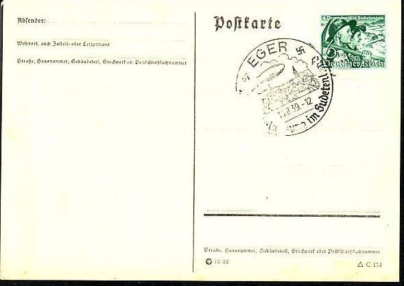 D-Reich schöne Karte Propaganda Stempel Eger  (m 8971  ) siehe scan