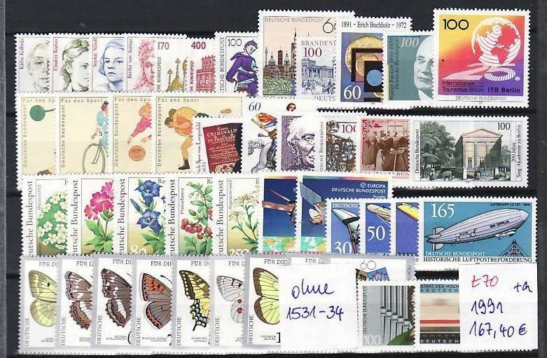 BRD Jahr 1991   **   (t 70  )95,-D-Mark Postpreis....!