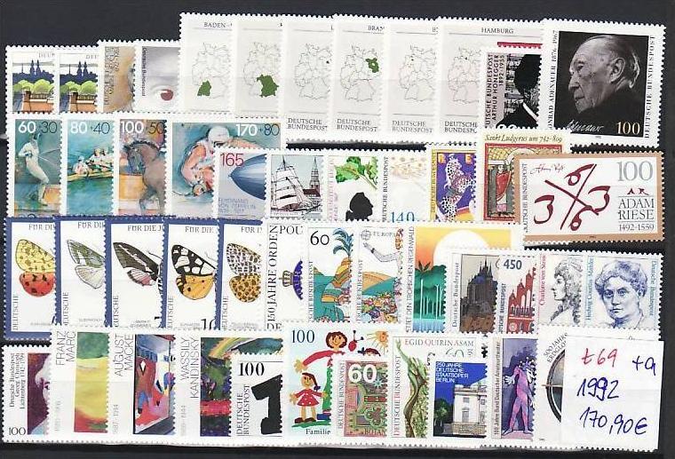 BRD Jahr 1992   **   (t 69  )80,-D-Mark Postpreis....!