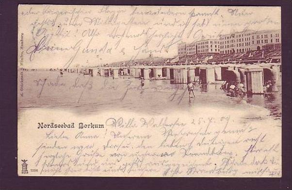 Alte Postkarte -Borkum 1909  ( da1584  ) siehe scan