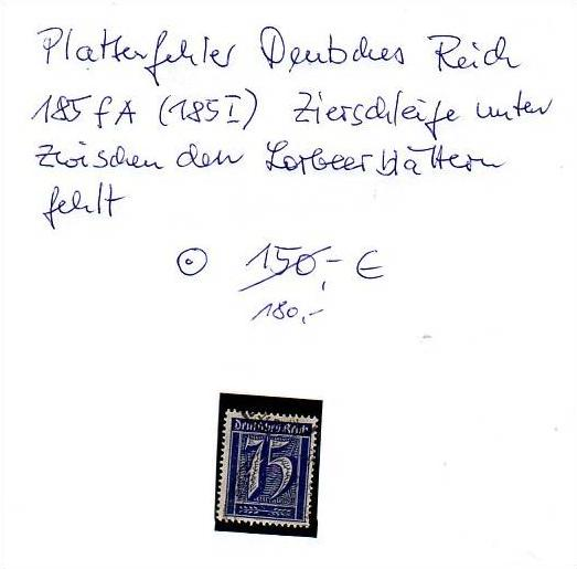 D-Reich -Plattenfehler Nr. 185 I  o ( z8446 ) siehe scan !