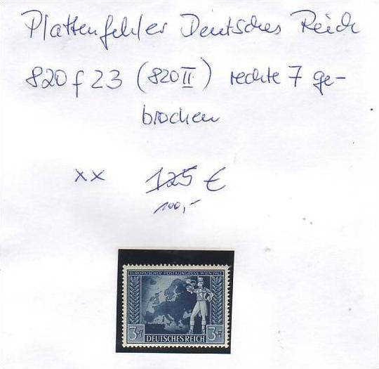D-Reich -Plattenfehler Nr. 820  II  **  ( z8453 ) siehe scan !