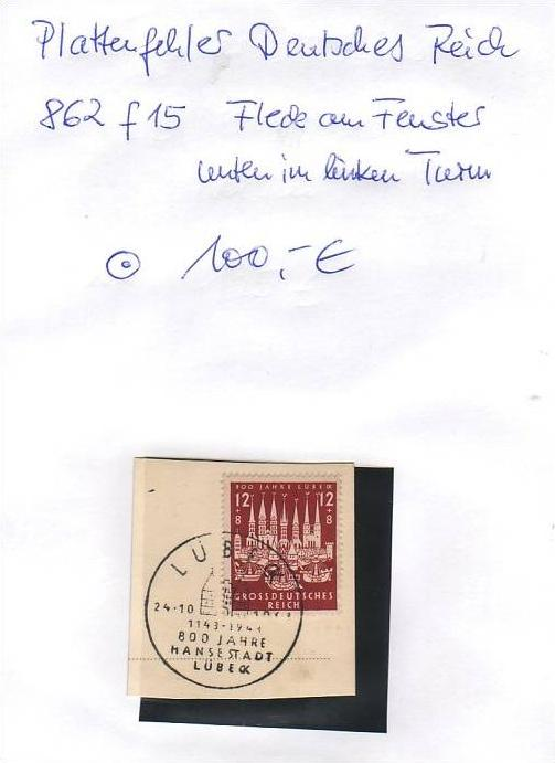 D-Reich -Plattenfehler Nr. 862 f15  o  ( z8454 ) siehe scan !