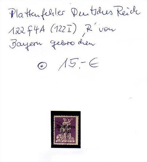 D-Reich -Plattenfehler Nr.122 I  o  ( z8443  ) siehe scan !