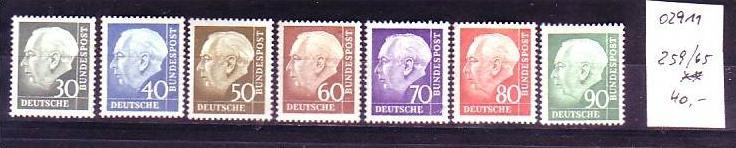 BRD  Nr. 259-65 Heuss   **  ( o2911 ) siehe scan