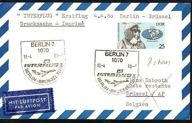 DDR Flug Beleg   (z8947  )siehe scan !