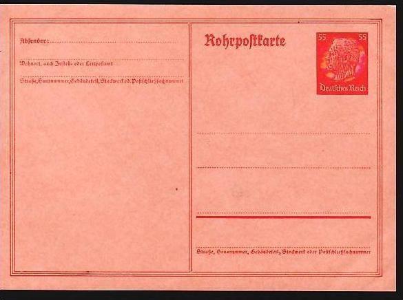 D-Reich  Ganzsache -Rohrpost  (z9622  ) siehe scan