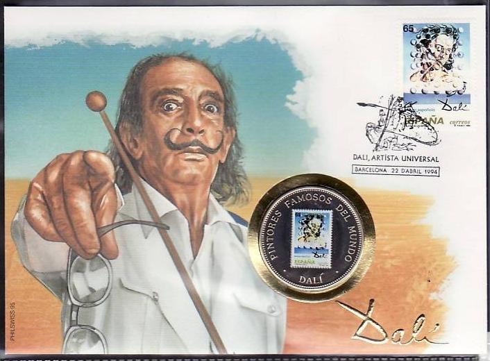 Numusbrief Spanien Gemälde mit 1000Fr. Farbmünze Guinea(dc6585 )