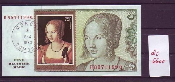 Dürer Gemälde Marke auf org.5 D-Mark Schein kassenfrisch ( dc6600  ) siehe scan