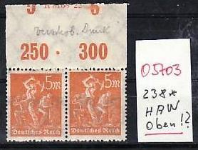 D.-Reich  Nr. 238  HAN  oben    *    Selten  ( o5703    ) siehe scan