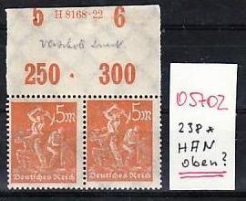 D.-Reich  Nr. 238  HAN  oben    *   selten   ( o5702    ) siehe scan