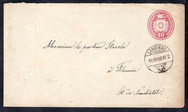 Schweiz  Ganzsache von 1869    ( da2180 ) siehe scan