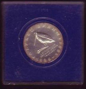 DDR Münze  10 Mark  Alfred Brehm  1984  -Silber  bankfrisch  (x417 ) siehe scan