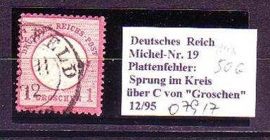 D-Reich   Nr.  19 PLF   o  (o7917   ) siehe scan