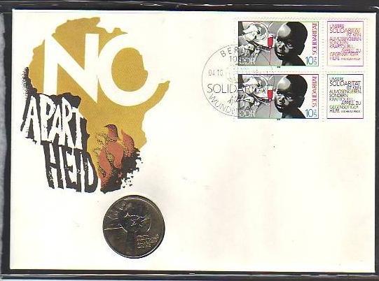 offizieller Numisbrief-DDR   Anti Apartheid  rar   (dc8874) siehe scan