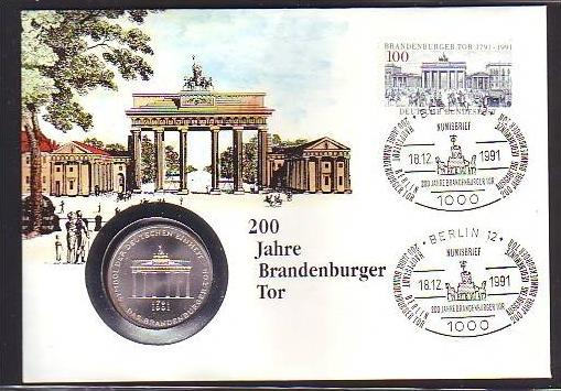 Brd Numisbrief 200 Jbrandenburger Tor Mit 10 Mark Silber Dc8883