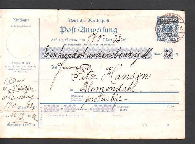 D.-Reich  Postanweisung 20 Pf.Krone&Adler gebraucht  RAR  (dc9620) siehe scan