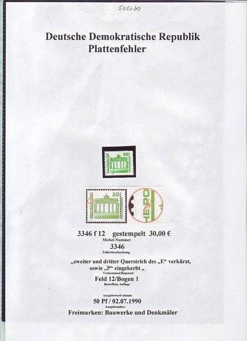 DDR Plattenfehler    3346 f12  o  (bg1343 ) siehe scan