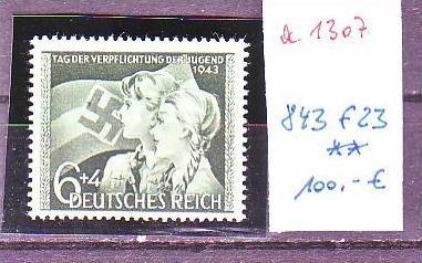 D.-Reich Nr. 843 f23    **  (a1307 ) siehe scan