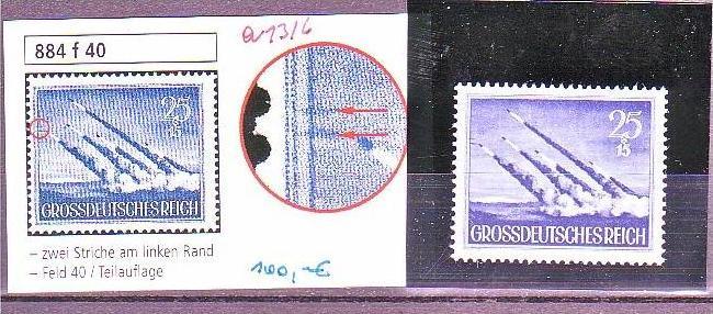 D.-Reich Nr. 884 f40 **  (a1316 ) siehe scan