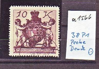 Liechtenstein   Nr.  38 P1   -Probedruck   o   (a1566   ) siehe scan