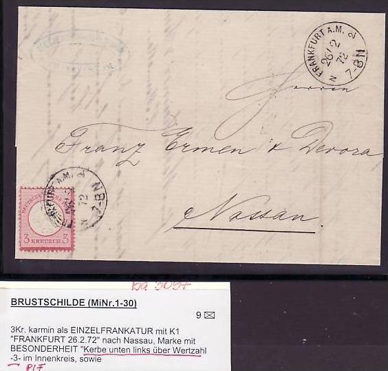 D.-Reich  Brief  Nr.9 mit PLF Kerbe unten links über der Ziffer ( ba 3097 ) siehe scan