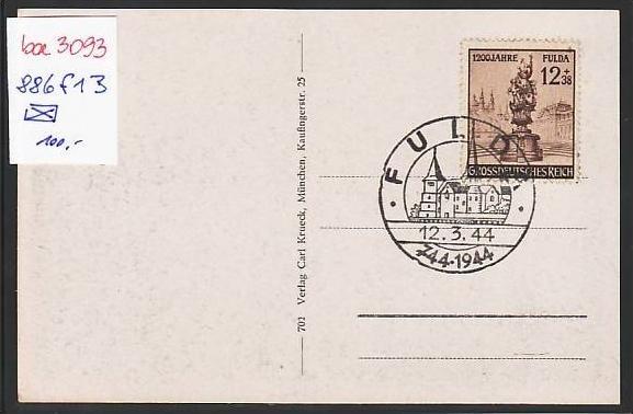 D.-Reich  Blanko Karte mit  886 f13      ( ba3093   )  siehe scan