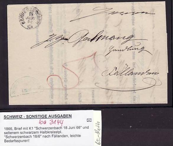 Schweiz Brief Mit Stempel Scherzenbach 1866 Ba 3144 Siehe Scan