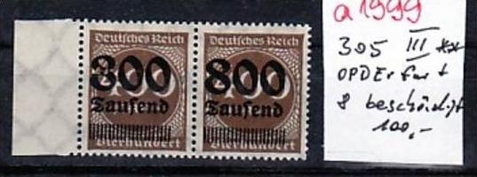 D.-Reich  305  III  Erfurt  1x beschädigte 8    **  (a1999 ) siehe scan