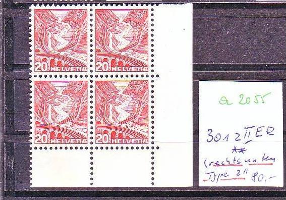 Schweiz  Nr. 4x 301 z II  ER unten rechts Type II   **   (a2055   ) siehe scan -vergrößert  !