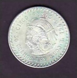 Mexico     Cinco  Peso  1948        /Silber  (x903 ) siehe scan