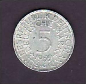 BRD  5,-Silberadler  1959 G  ( x948 ) siehe scan