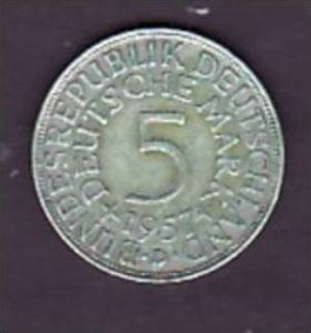 BRD  5,-Silberadler  1957 J   ( x954 ) siehe scan