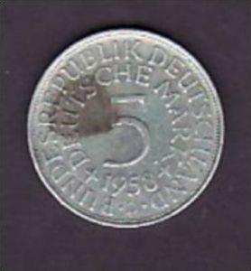 BRD  5,-Silberadler  1958 D  ( x952 ) siehe scan