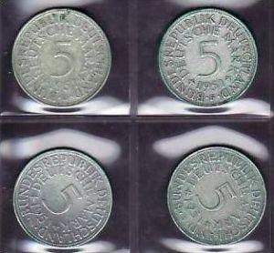 BRD  5,-Silberadler  1951   D;F;G;J    ( x960  ) siehe scan