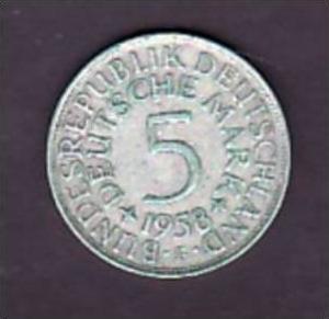 BRD  5,-Silberadler  1958 F   ( x951  ) siehe scan