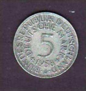 BRD  5,-Silberadler  1958 G   ( x950  ) siehe scan