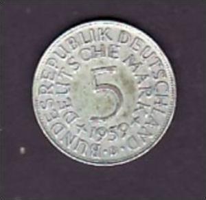 BRD  5,-Silberadler  1959 D    ( x949  ) siehe scan