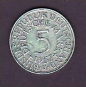 BRD  5,-Silberadler  1957 J   ( x956  ) siehe scan