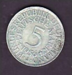 BRD  5,-Silberadler  1956   J ( x958  ) siehe scan