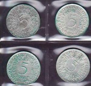 BRD  5,-Silberadler  1965 D;F;G;J   ( x937 ) siehe scan