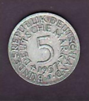 BRD  5,-Silberadler  1957 F   ( x955 ) siehe scan