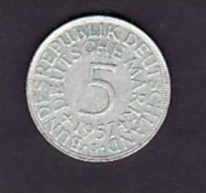 BRD  5,-Silberadler  1957 G   ( x953 ) siehe scan