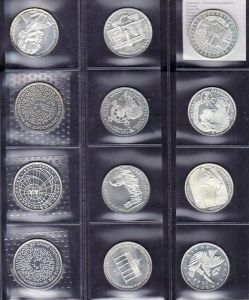 BRD  12x 10 D.-Mark  Silber  ;davon 2x PP aus 1990-97 bfr.(x1218 ) siehe scan