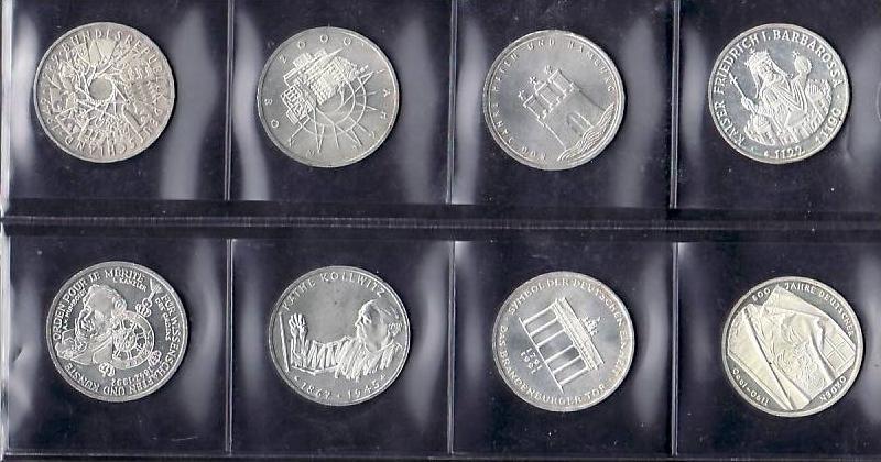 BRD  8x 10 D.-Mark  Silber   bfr.(x1217 ) siehe scan